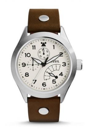 FOSSIL The Aeroflite Multifunction Leather Watch - Brown 44mm
