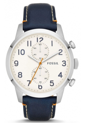 FOSSIL Townsman Chronograph Blue Leather Watch 44mm