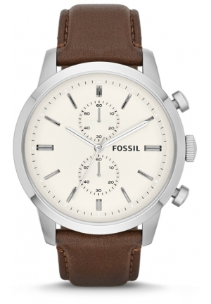FOSSIL Townsman Chronograph White Dial Brown Leather Mens Watch 48mm