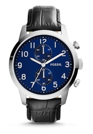 FOSSIL Townsman Three-Hand Leather Watch - Black Croco 44mm