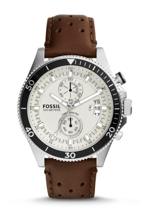 FOSSIL Wakefield Chronograph Leather Watch - Brown 45mm