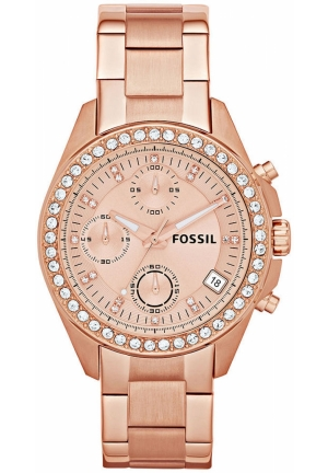 FOSSIL Women's Chronograph Decker Rose Gold-Tone Stainless Steel Bracelet 38mm