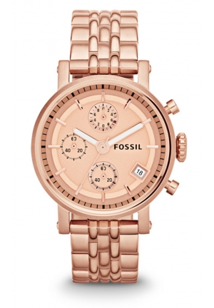 FOSSIL Women's Chronograph Original Boyfriend Rose Gold-Tone Stainless Steel Bracelet 38mm