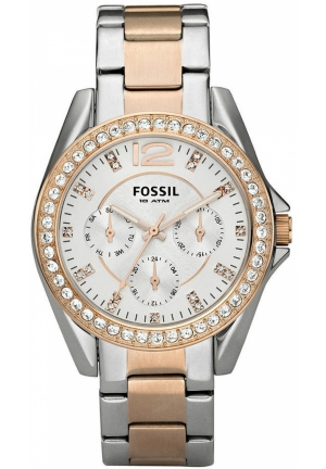 FOSSIL Women's Chronograph Riley Two Tone Stainless Steel Bracelet 38mm
