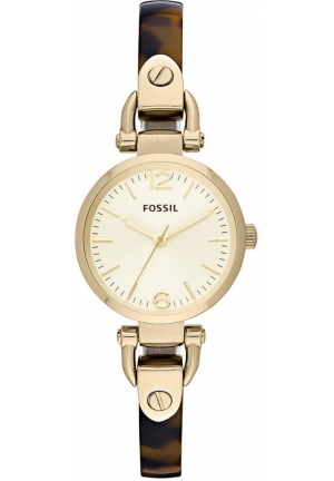 FOSSIL Women's Georgia Mini Gold-Tone and Tortoise Bangle Bracelet 26mm