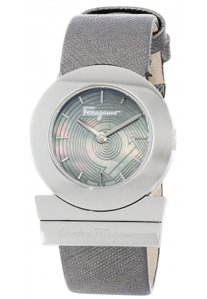 "SALVATORE FERRAGAMO ""Gancino"" Stainless Steel Watch with Saffiano Leather Band 29mm"