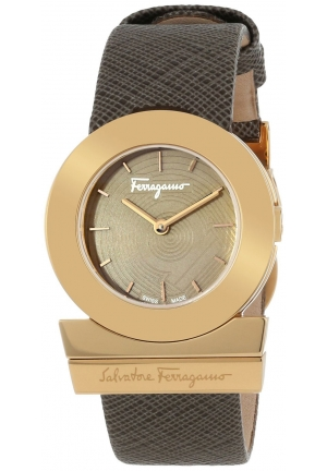 SALVATORE FERRAGAMO Gancino Rose Gold Ion-Plated Coated Stainless Steel Brown Saffiano Leather Watch 29mm