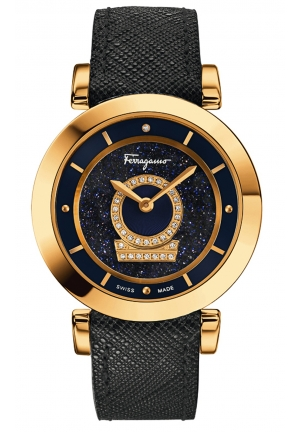 MINUETTO GOLD IP DIAMONDS LEATHER WATCH, 36MM