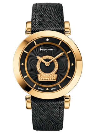 SALVATORE FERRAGAMO Minuetto Analog Display Swiss Quartz Black Watch , 36 mm