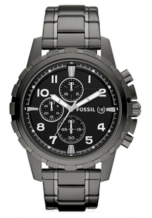 Fossil Dean Chronograph Black Dial Smoke Grey Ion-plated Men's Watch FS4721