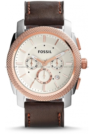FOSSIL Men's Machine Chronograph Leather Strap Brown