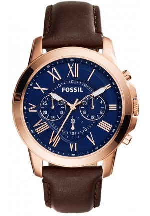 Fossil Grant Blue Dial Stainless Steel Watch with Brown Leather Band