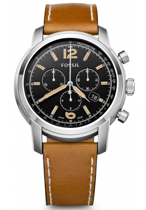 SWISS MADE CHRONOGRAPH LEATHER WATCH - TAN