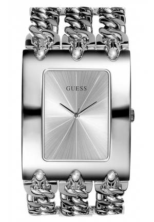GUESS Women's Silver-Tone Multichain Bracelet 40x48mm