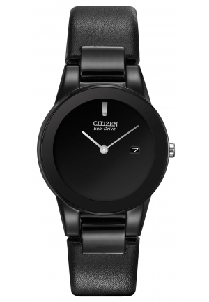 "Citizen Women's Eco-Drive ""Axiom"" Stainless Steel and Black Leather Watch"
