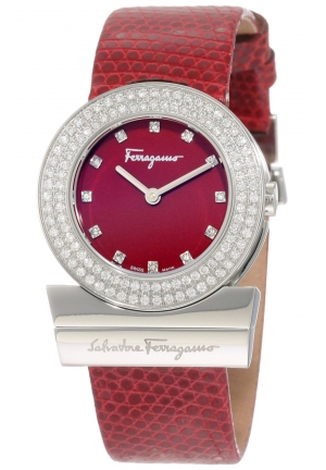 Gancino Burgundy Genuine Lizard Leather Diamond Watch 29.5 mm