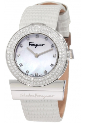 Gancino Mother-Of-Pearl Genuine Leather Diamond Watch 29.5 mm
