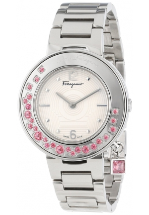 Gancino Sparkling Stainless Steel Pink Topaz Rotating Bezel Watch 36mm