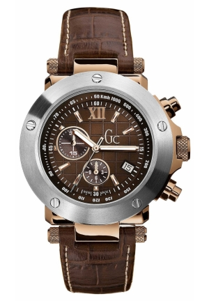 GC Men's Chronograph Brown Croc Embossed Leather Strap 44mm