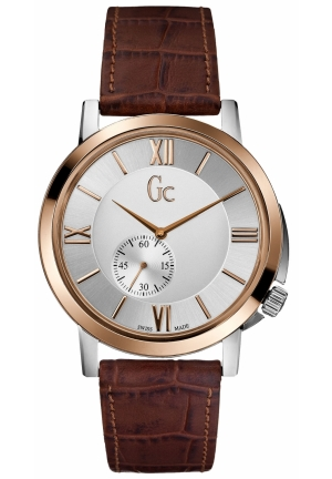 GC Men's Slim Class Brown Croc Embossed Leather Strap 42mm