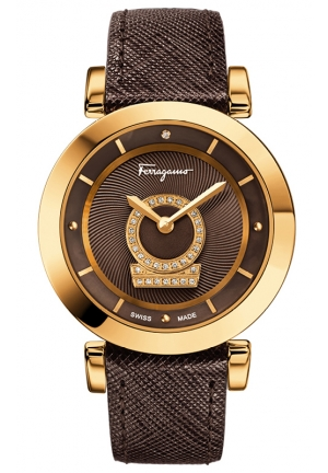 Gold Ion-Plated Diamond-Accented Watch with Leather Band 36mm
