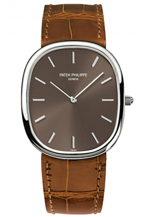 Golden Ellipse Brown Dial Brown Leather Men's Watch 3738/100G-012, 31.1 x 35.6mm