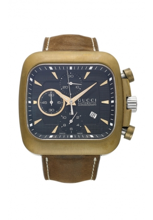 GUCCI Men's Swiss Automatic Chronograph Coupe Brown Leather Strap  44mm