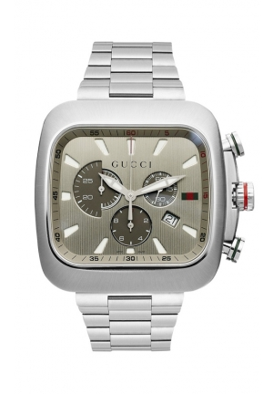 GUCCI Men's Swiss Chronograph Coupe Stainless Steel Bracelet  44mm