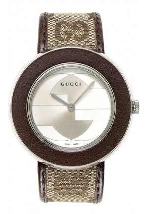 GUCCI Swiss U-Play GG Brown Fabric Strap 55mm