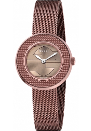 Gucci Women's Swiss U-Play Brown PVD Mesh Bracelet Watch 29mm