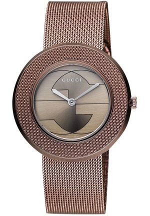Gucci Women's Swiss U-Play Brown PVD Mesh Bracelet Watch  35mm