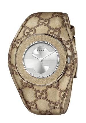 GUCCI Women's Swiss U-Play Champagne Guccissima Leather Strap 35mm