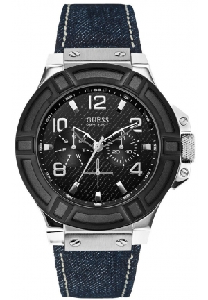 GUESS Denim, Black and Silver-Tone Rigor Standout Sport Watch 46mm