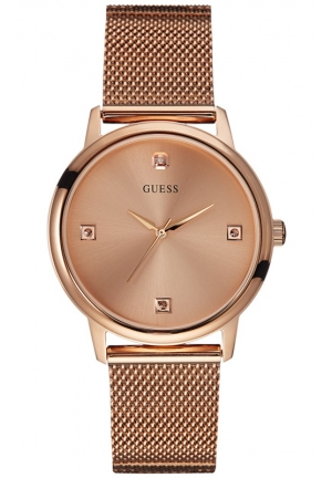 GUESS Diamond Accent Rose Gold-Tone Mesh Bracelet Watch 40mm