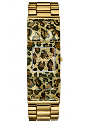 GUESS Gold-Tone and Animal Print Polycarbonate Bracelet 24mm
