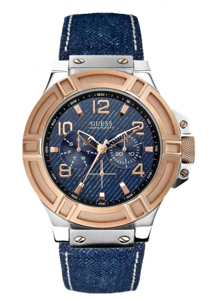 GUESS Men's Blue Denim Leather Strap Watch 46mm
