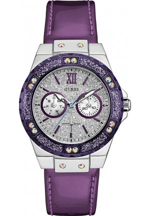 GUESS PURPLE LEATHER STRAP WOMEN WATCH 39MM