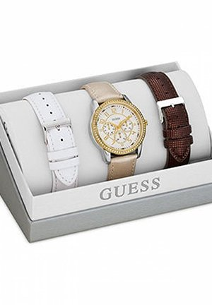 GUESS Watch Set, Women's Beige, White and Brown Leather Straps 40mm