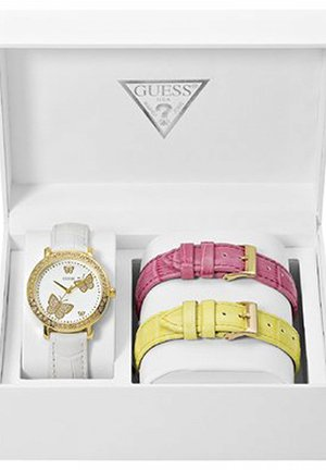 GUESS Women Yellow White Pink Strap Watch box set 36mm