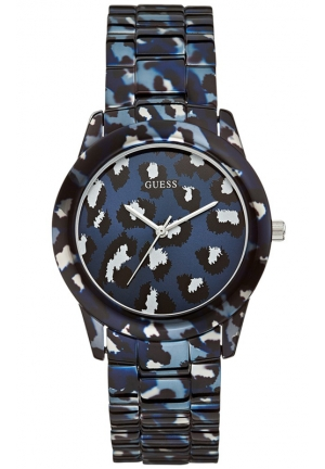GUESS Women's Blue Animal Print Bracelet Watch 38mm