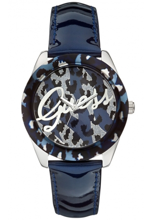 GUESS Women's Blue Patent Leather Strap Watch 40mm