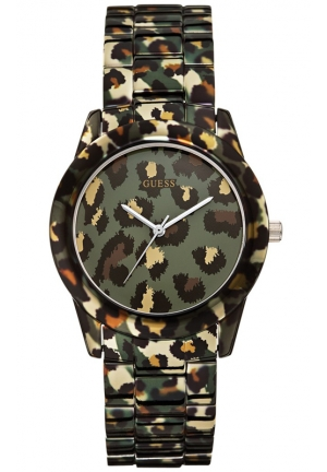 GUESS Women's Camouflage Animal-Printed Steel Bracelet Watch 38mm