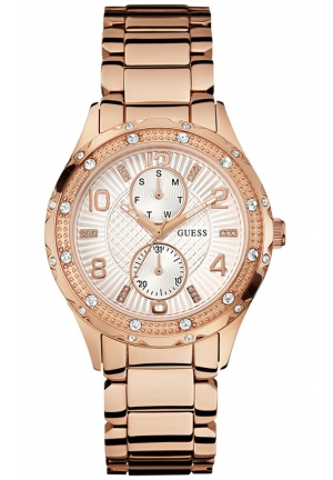 GUESS Women's Rose Gold-Tone Bracelet Watch 39mm