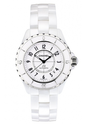 J12 CLASSIC WHITE H1629 UNISEX CERAMIC CASE AUTOMATIC DATE WATCH, 38MM