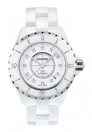 J12 WHITE GEM-SET STEEL DIAMOND H1759, 38MM
