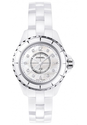 J12 CLASSIC MOTHER OF PEARL WHITE CERAMIC LADIES WATCH 29MM