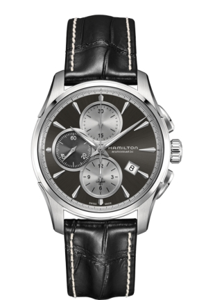 JAZZMASTER CHRONOGRAPH GREY DIAL BLACK LEATHER MEN'S WATCH H32596781 42MM