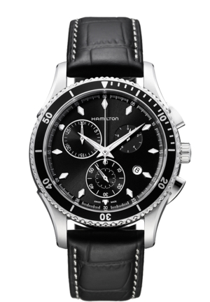 JAZZMASTER SEAVIEW CHRONOGRAPH BLACK DIAL BLACK LEATHER MEN'S WATCH 44MM H37512731