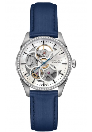 JAZZMASTER VIEWMATIC SKELETON MOTHER OF PEARL DIAL BLUE SATIN LADIES WATCH H42405991 36MM