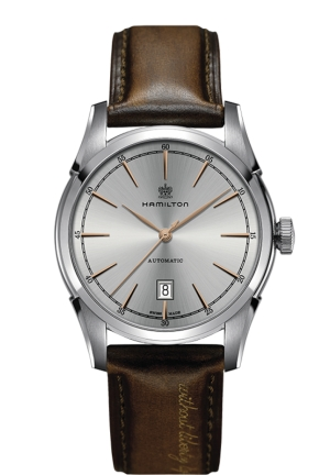 Spirit of Liberty Automatic Silver Dial Brown Leather Men's Watch,H42415551